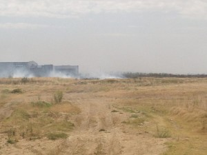 Grassfire near Waterways